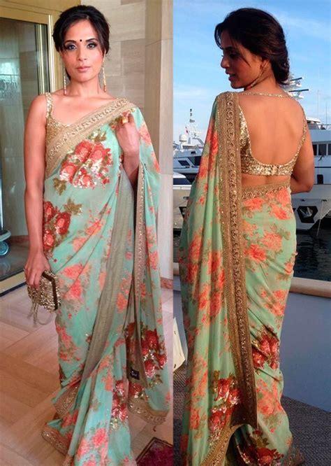 Expand Floral Print Blouse Oranye richa chadda in floral print saree designer sarees in
