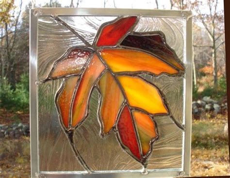 leaf pattern for stained glass maple leaf stained glass panel orange red yellow