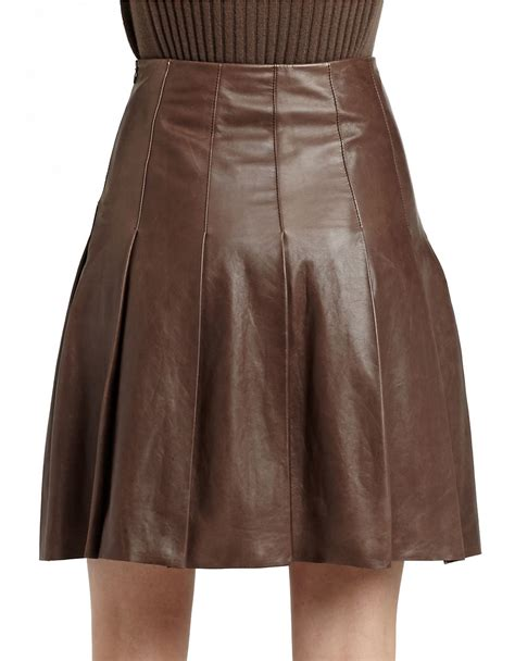 lafayette 148 new york rayden pleated leather skirt in