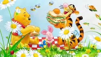 picnic flowers grass bee winnie pooh tigger piglet cartoon hd wallpapers 1920x1080