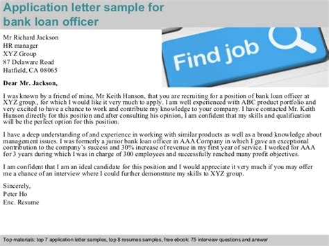 Application Letter As Loan Officer Bank Loan Officer Application Letter