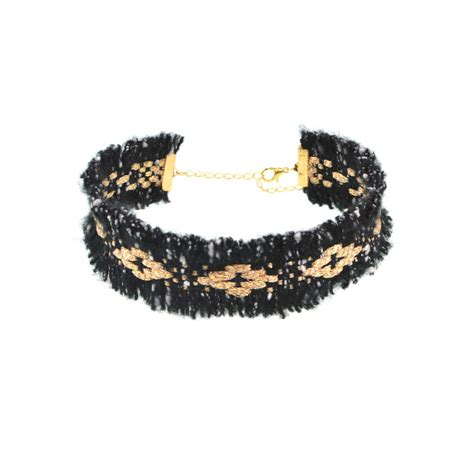 woven fringed choker necklace the box
