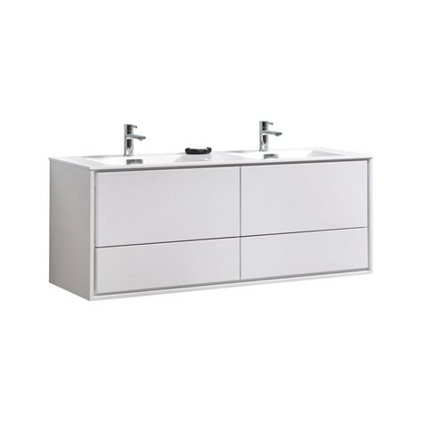 de lusso 60 quot sink high glossy white wall mount vanity