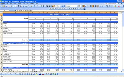 Excel Expense Template by Household Expenses Excel Templates
