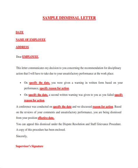 Employment Dismissal Letter Sle Dismissal Letter Template 9 Free Documents In Pdf Word