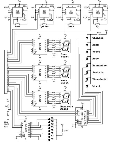 MIDI Drum Machine Schematic, Front Panel