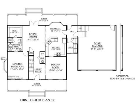 House Plan 2109 B Mayfield Quot B Quot First Floor Plan Colonial One Story House Plans With Bonus Room Above Garage