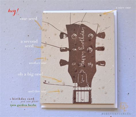 Guitar Birthday Card Birthday Greetings Acoustic Guitar On Plantable Paper By