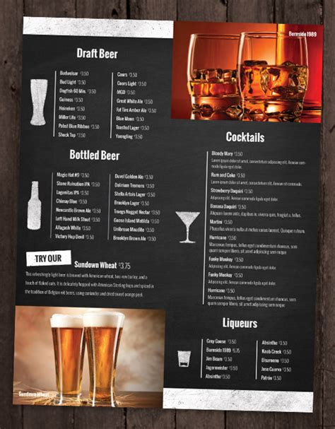 beverage menu template 28 drink menu templates free sle exle format