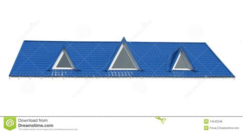 Building A Dormer Triangle Windows Tile Roof Isolated On White Royalty