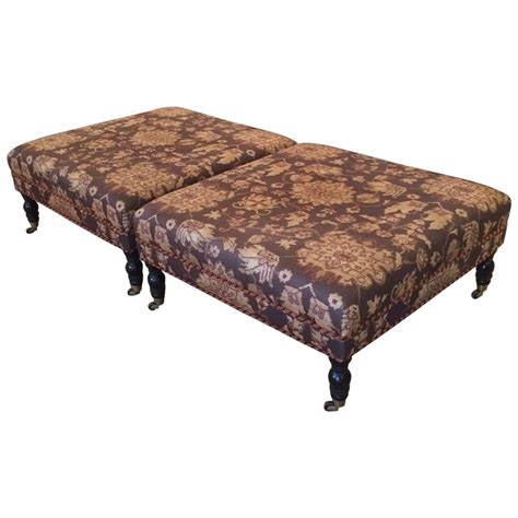 Large Square Fabric Ottoman Pair Of Large Square Upholstered Ottomans At 1stdibs