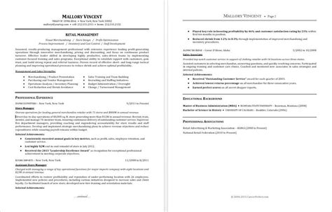 Retail General Manager Resume Sle Resume For A Retail Manager
