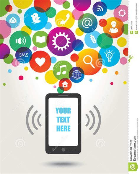 Handuk Mutia mobile phone and social media icons royalty free stock
