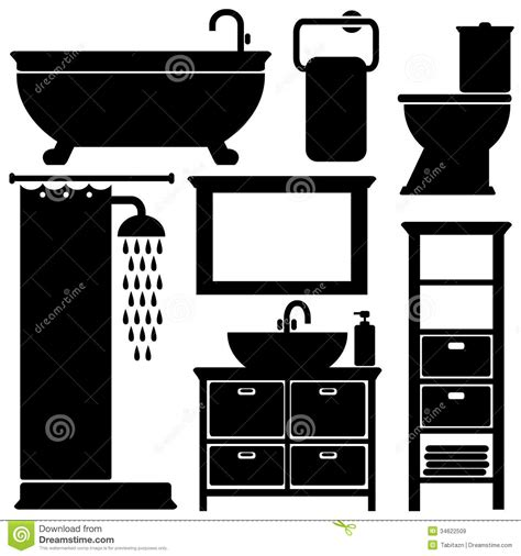 Black Kitchen Faucet Bathroom Toilet Black Icons Set Silhouettes On Wh Royalty