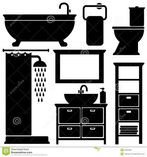 Bathroom Toilet Black Icons Set, Silhouettes On Wh Stock