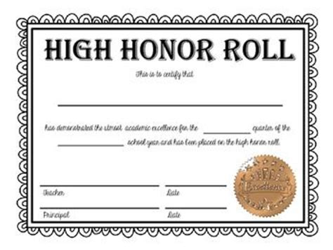 honor roll and high honor roll certificates now editable