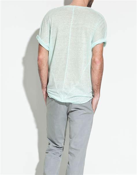 Zara Shirt 2 zara linen tshirt in blue for lyst