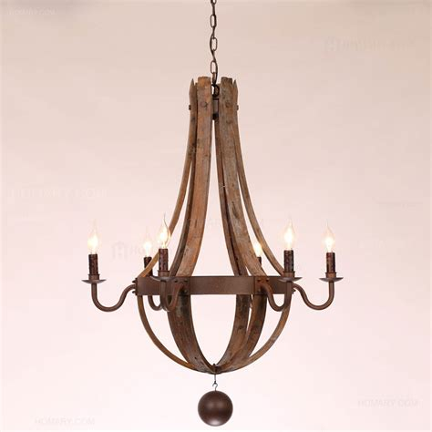 Reclaimed Chandeliers Rustic Wine Barrel Stave Reclaimed Wood Rust Metal Chandelier With Candle Light Chandeliers