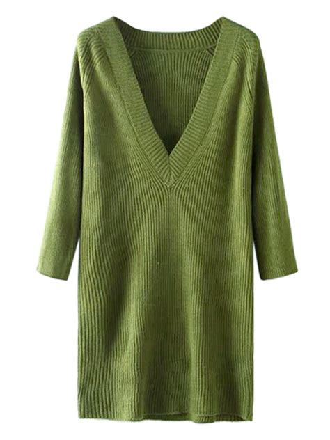 V Knitted Longsleeve cheap army green v neck sleeve knit sweater dress sultry 29 9800