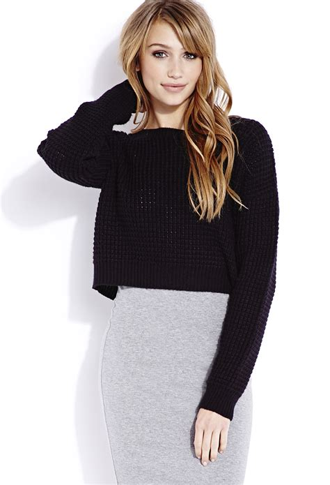 cropped sweater lyst forever 21 cozy cropped sweater in black