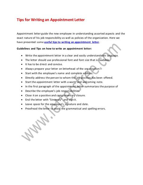 tips write appointment letter