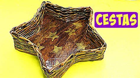 como hacer cestas de papel de periodico c 243 mo hacer cestas de papel peri 243 dico newspaper baskets