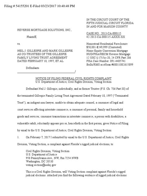 voting section notice of filing federal civil rights complaint doj voting