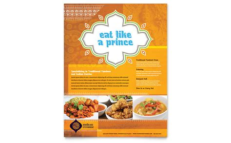 Indian Restaurant Flyer Template Word Publisher Restaurant Flyer Template