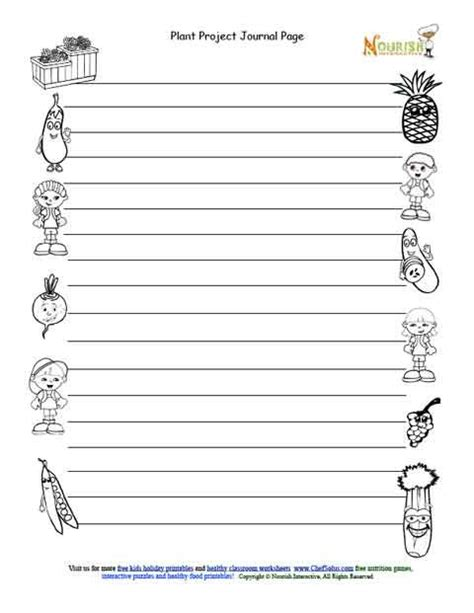 printable journal entry pages kids gardening journal entry page black and white page