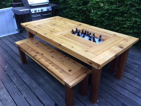 Patio Cooler Table with White Cedar Patio Table W Coolers Diy Projects