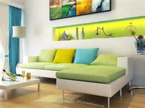 Yellow Blue And Green Living Room 白色别致和独特的客厅