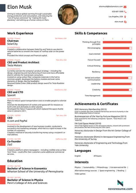 Canada Bewerbung What Elon Musk S Cv Looks Like All In One Page