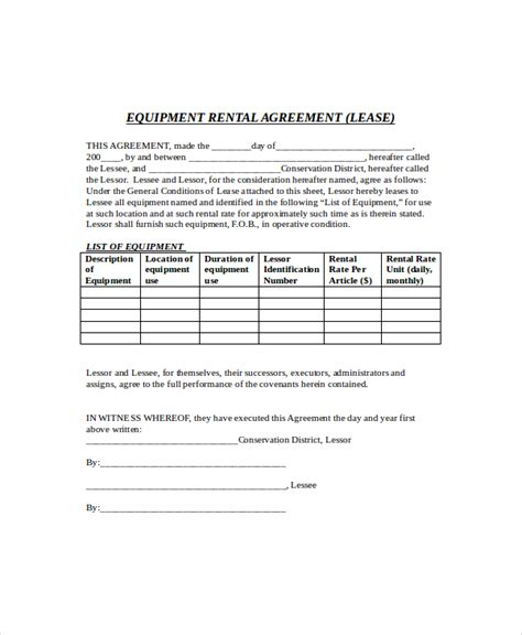 simple rental agreement template word equipment lease template 8 free word pdf documents