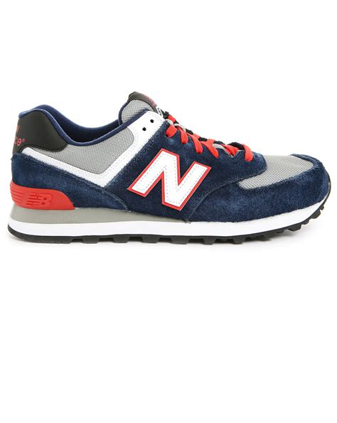 Rasio Mesh Sneakers Navy new balance 574 navy and suede and mesh sneakers in blue for lyst