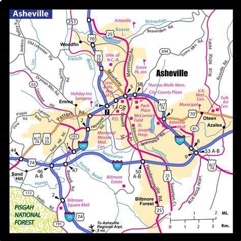 ashville nc map a map of asheville nc asheville area