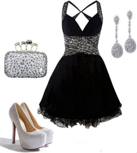 dress black dress prom dress black silver