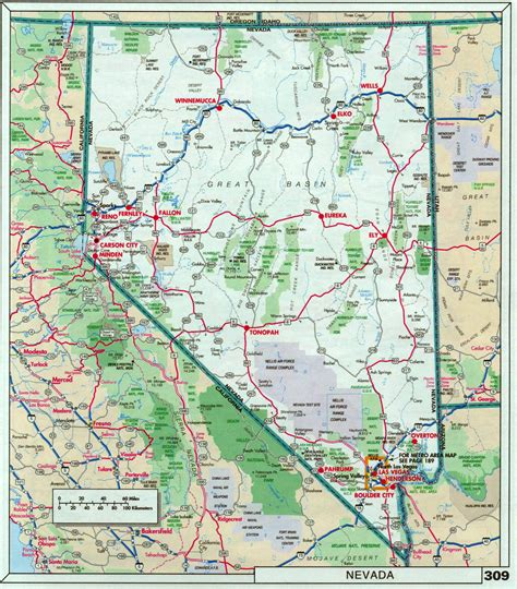 unr map large detailed roads and highways map of nevada state with national parks vidiani maps