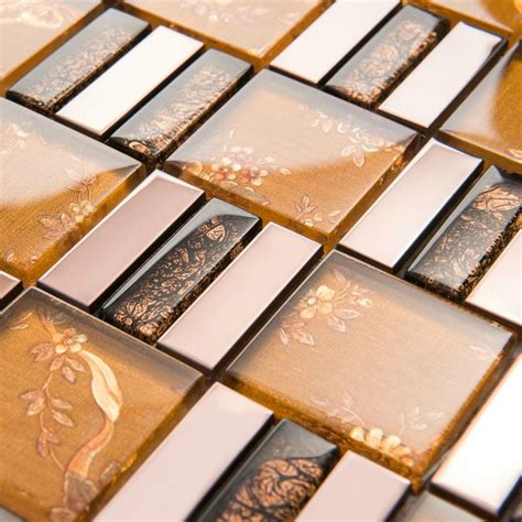 gold glass tile backsplash yellow gold glass metal mosaic tiles backsplash ssmt126