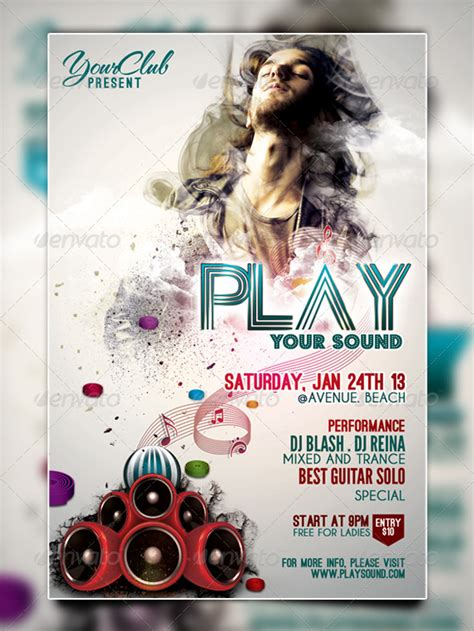 Play Your Sound Flyer Template By Redink09 Graphicriver Play Flyer Template