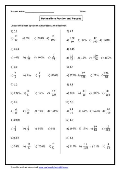 6th Grade Percent Worksheets