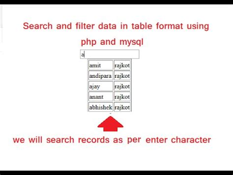 Search Php Search And Filter Data In Html Table Using Php And Mysql