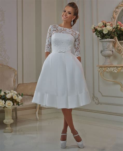 elegant lace sleeve short wedding dresses  scoop neck