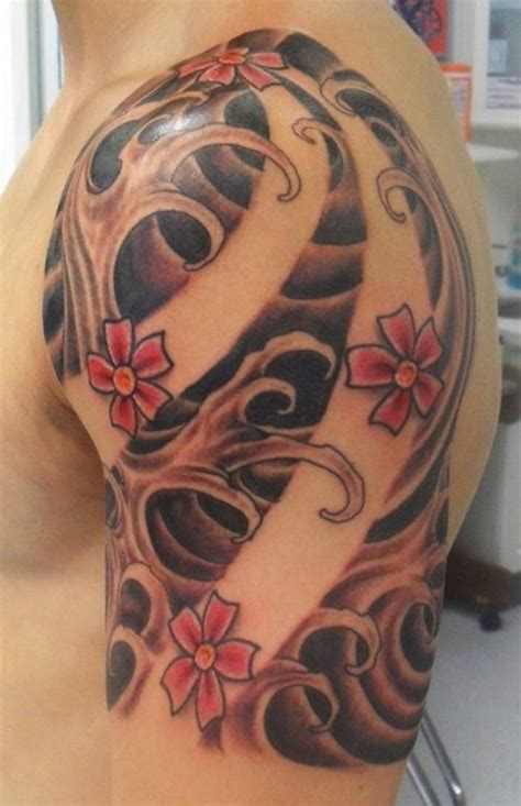 oriental tattoo waves cherry blossom tattoo waves and cherry blossom