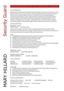 security officer resume format security guard cv sle