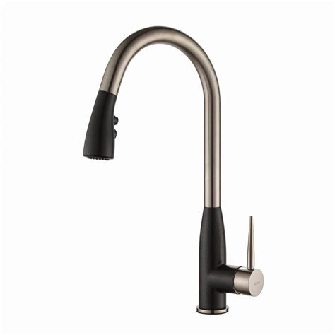 black kitchen faucets kraus geo arch single handle pull sprayer kitchen faucet with soap dispenser in stainless
