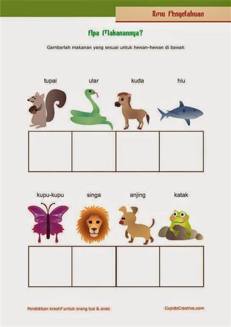 belajar anak kelas  sd makanan hewan berlatih