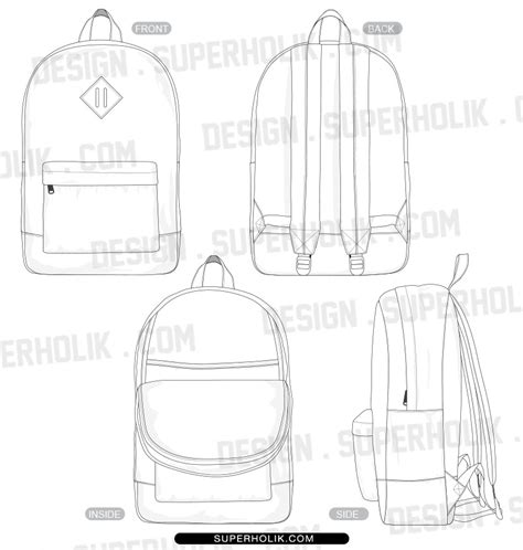 Fashion Design Templates Vector Illustrations And Clip Artsbackpack Template 187 Fashion Design Backpack Design Template