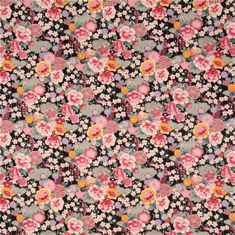 tessuti fiorati tessuto floreale giapponese nero con motivi dorati di