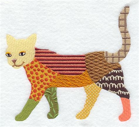 Patchwork Cat Pattern - machine embroidery designs at embroidery library