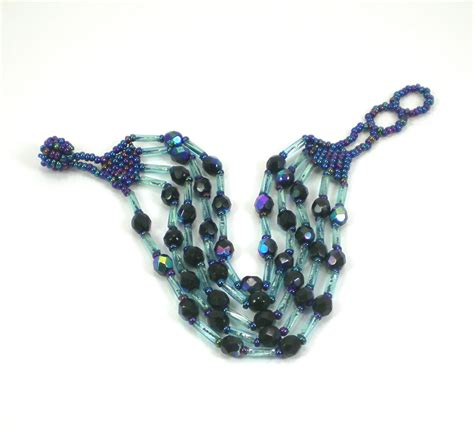 blue beaded bracelet blue glass beaded bracelet blue iridescent peyote stitch